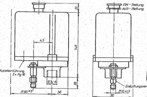 Größe der DDR Druckschalter