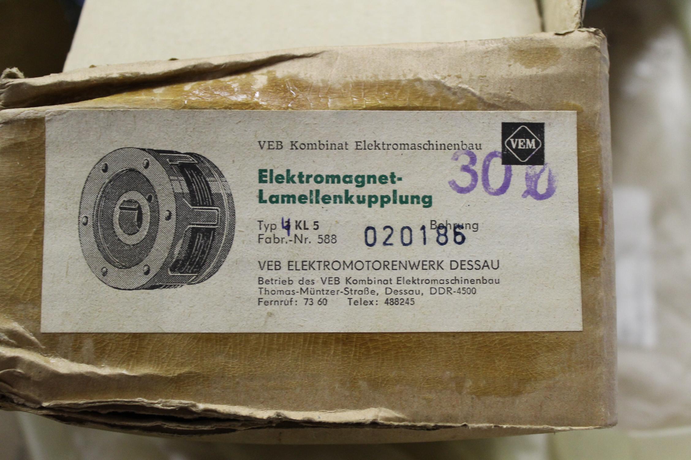 Typenschild Lamellenkupplung 4KL TGL 9922