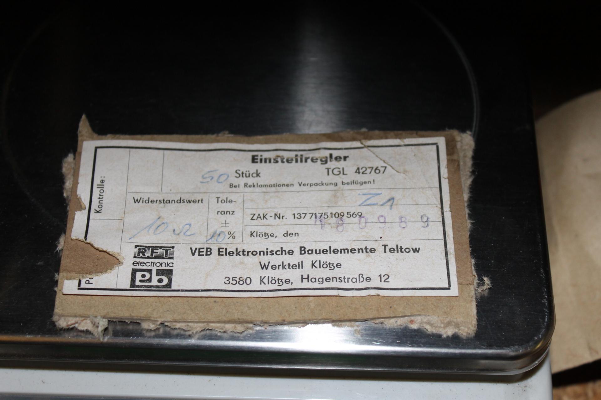 TGL 42767 - Typenschild DDR Poti Einstellregler
