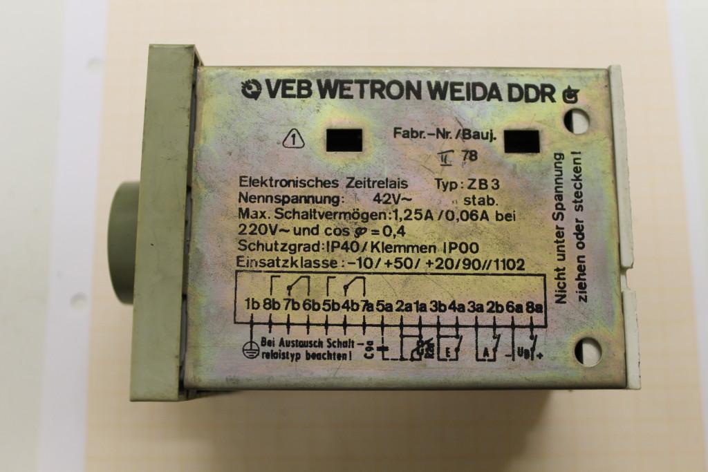 WETRON WEIDA DDR Elektronisches Zeitrelais ZB 01  0,3-6 Sekunden Relais #EL45#
